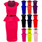 Ladies Belted Peplum Knee Length Frill Pencil Skirt Bodycon Womens Dress 8-14