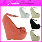 NEW LADIES PLATFORM PEEP STILETTO HIGH HEEL BOW WEDGE PARTY SANDALS SIZES UK 3-8