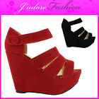NEW LADIES STRAPPY ANKLE OPEN TOE PLATFORM HIGH HEEL WEDGE SANDALS SIZES UK 3-8
