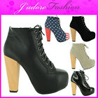NEW LADIES STILETTO BLOCK HIGH HEEL PLATFORM CONCEALED ANKLE BOOTS SIZES UK 3-8