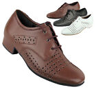 Men's Ballroom Salsa Latin Tango Black Dark Tan White Dance Shoes Very Fine ST38