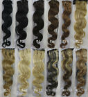 "22"" 75g Body Wavy Remy Human Hair Attached 15Clips In Extensions Soft 7parts"