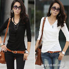 Elegant Women Long Sleeve Office Solid V Neck Slim Casual Top T-Shirt Blouse Tee