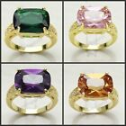 Simple Fashion Lady's 12Ct Emerald/Amethyst/Topaz 18K Gold Filled Ring Size 8