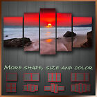 ' Flaming Red Sky Sunset Beach And Sea ' Modern Landscape Canvas Wall Art Deco
