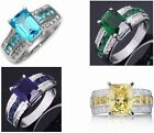 Jewelry 10KT White Gold Filled Ring Size 10 and 8 Aquamarine&Sapphire Gift