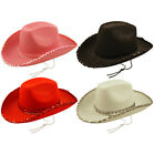 FANCY DRESS COWBOY HAT RED PINK WHITE BLK SEQUIN TRIM