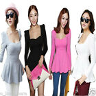 Sexy Women Korean Style Long Sleeve Slim Waist Low-cut Tops Blouse Casual Shirt