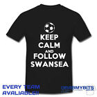 PRINTED KEEP CALM FOOTBALL SUPPORTER T SHIRT ADULT/KIDS SIZES - SWANSEA
