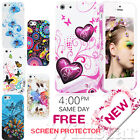 NEW STYLISH FLOWER SERIES GEL CASE COVER  FITS IPHONE 5 5G & FREE SCREEN GUARD
