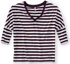 NEW Aeropostale Aero Womens Purple/White Striped Dolman V Neck Shirt Top Sz XL