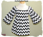 NEW Girls Boutique-Black & White CHEVRON PEASANT DRESS-Custom-12M-3T-MUST C
