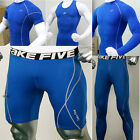 [BLUE] Mens Compression Under Base Layer Shirts Tights Pants Shorts Tank Top