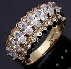 Size 7,8,9,10 Jewelry Woman's White Sapphire 10KT Yellow Gold Filled Ring Gift