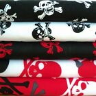 SKULLS -  BLACK RED WHITE POLY COTTON FABRIC per m CROSSBONES choose your design