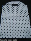 LARGE WHITE BLACK SPOTTED PRINT FASHION CARRIER BAGS 40-45 PER PACK 43.5cmx30cm