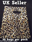 50 SMALL LEOPARD ANIMAL SPOTTED PRINT FASHION PLASTIC CARRIER BAGS 160mm x 120mm