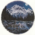 Ceramic Decals Howling Wolf Pair Full Moon Mountain Scene