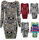 Womens Skull Print Bodycon Mini Dress Long Sleeved Red Black Ladies New Sz8-14
