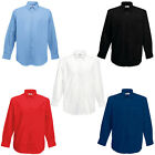 New Fruit of the Loom Mens Poplin Long Sleeve Casual Shirt in 5 Colours S - 3XL
