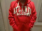 New Men's Atlanta Falcons Red 3D Appliqued Full Zip Hooded Sweatshirt