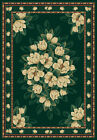 HUNTER green IVORY magnolia FLORAL carpet TRADITIONAL country COTTAGE area RUG