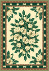 IVORY cream GREEN magnolia FLORAL carpet TRADITIONAL country COTTAGE area RUG