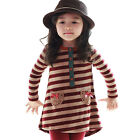 NWT Girls Kids Stripe Top Dress+Leggings Pants Bowknot 2-7Y 2pcs Sets Outfit