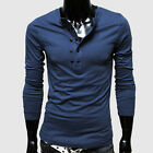Attract Mens Causal Shirt Slim Long Sleeve Buttons T-shirt Tops New Style Tees