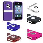 Black/Red/Purple/White/Blue/Hot Pink Chrome Stand Cover Case For iPhone 4 4S