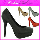 NEW LADIES  STILETTO SEXY HIGH HEEL GLITTER PLATFORM COURT SANDALS SHOES UK 3-8