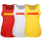 LADIES LIFEGUARD YELLOW RED WHITE RACER BACK VEST FANCY DRESS ALL SIZES