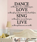 Removable Wall Art Quotes Vinyl Decal Stickers Decor ~ Dance Love Sing Live ~