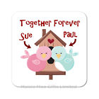 Personalised Together Forever Love Birds Wooden Gift Valentines Birthday Coaster