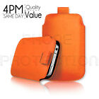 PREMIUM PU LEATHER  PULL TAB SKIN CASE COVER POUCH FOR VARIOUS Orange MOBILES
