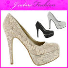 NEW LADIES HIGH HEEL STILETTO PLATFORM SEXY CLASSIC COURT SANDALS SHOES UK 3-8