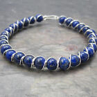 Lapis Lazuli Beaded Sterling Silver Wire Wrapped Bracelet