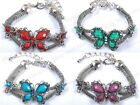 New Fashion Tibetan Silver Crystal Resin Butterfly Huge Bangle Bracelets Jewelry