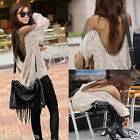 Sexy Womens Open Back Mesh Batwing Pullover Jumper Tops Loose Shirts Blouse