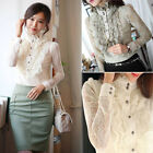 Elegant Fashion Womens Lace Slim Solid High Neck Career Casual Tops Blouse Shirt