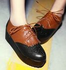 Laidies Stylish Lace Up Platform Flat Brogue Oxford Creepers Shoes Plus Sise #5