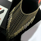 NEW Fashion Women Gothic Tassel Rivet Necklace Cone Cascade Chain Punk Spike Bib