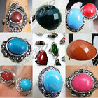 Lots Fashion Styles Round Oval Mixed Colors Plastic Beads Rhinestone Metal Rings