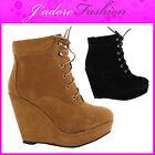 NEW LADIES  HIGH HEEL LACE UP  CONCEALED WEDGE PLATFORM ANKLE BOOTS SIZES UK 3-8