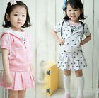 Girls Kids Cute Tops Skirt 2Pcs Outfit Set 2-7Y Casual Tracksuit Clothes 2Colors