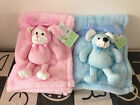 Quality-Embroidered-PERSONALISED fleece Baby Blanket Pink 3D Doggie-Blue Mouse