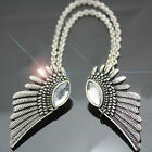 NEW Fashion Punk Women Retro Vintage Brooch Crystal Collar Clip Necklace Wings S