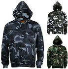 Mens camouflage camo hooded fleece sweatshirt hoodie blue brown green
