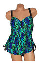 Beach Native Swimwear Cascading Blue PLUS SIZE 2-Piece Tankini Swimsuit