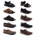 New Mens Real Leather Comfy Summer Sandals Velcro Slip On Size UK 7 8 9 10 11